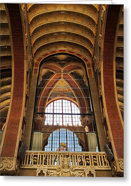 Incredible Ceiling At Sant Pau In Barcelona Greeting Card by Dave Mills