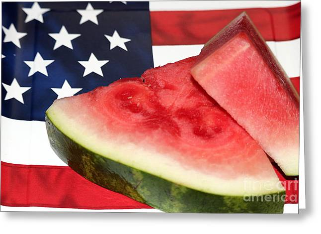 Independence Day And Watermelon Greeting Card by Diann Fisher
