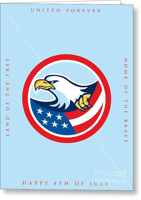 Independence Day Greeting Card-american Bald Eagle Clutching Flag  Greeting Card