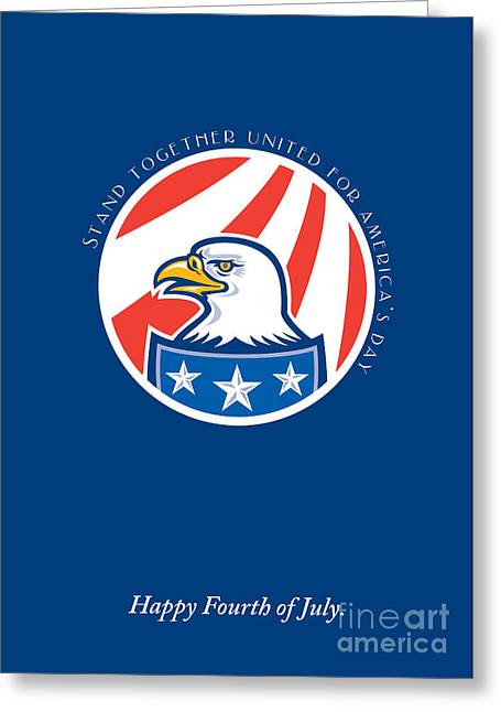 Independence Day Greeting Card-american Bald Eagle Head Side Greeting Card by Aloysius Patrimonio