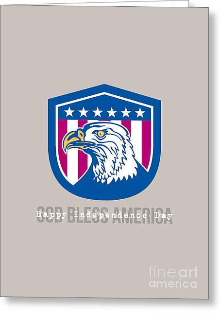 Independence Day Greeting Card-american Bald Eagle Head Side Stars  Greeting Card