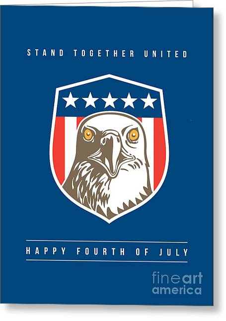 Independence Day Greeting Card-american Bald Eagle Head Stars Shield Greeting Card by Aloysius Patrimonio