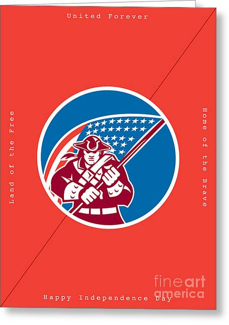 Independence Day Greeting Card-american Patriot Holding Flag Greeting Card