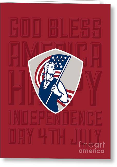 Independence Day Greeting Card-american Patriot Holding Usa Flag Shield Greeting Card