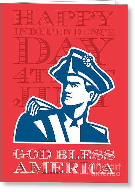 Independence Day Greeting Card-american Patriot Soldier Bust Greeting Card by Aloysius Patrimonio