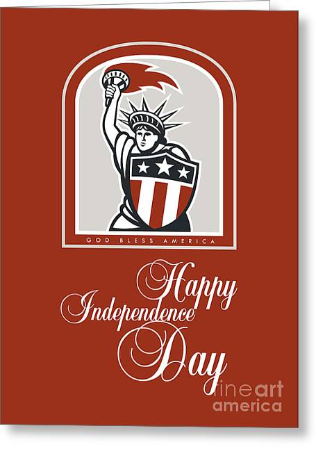 Independence Day Greeting Card-statue Of Liberty With Flaming Torch Shield Greeting Card by Aloysius Patrimonio