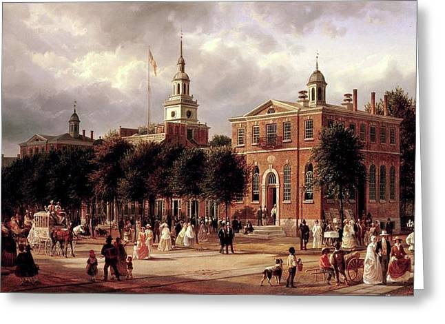 Greeting Card featuring the painting Independence Hall by Ferdinand Richardt