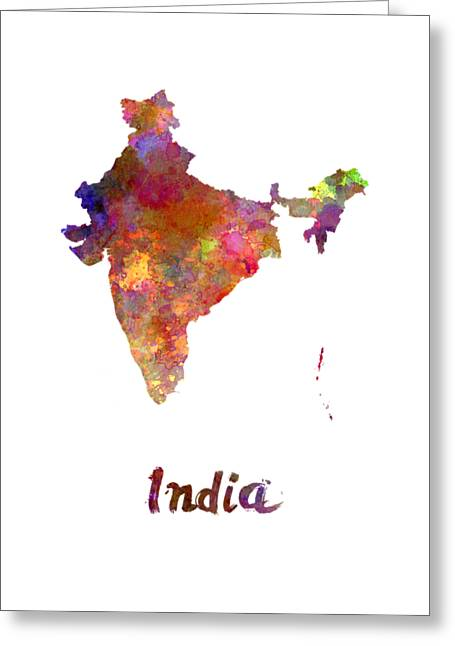 India  In Watercolor Greeting Card by Pablo Romero