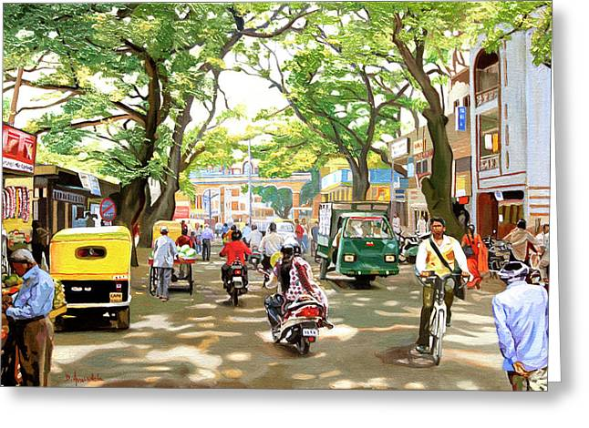 India Street Scene Greeting Card
