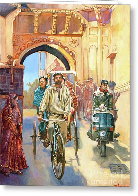 India Street Scene With A Bicycle Rickshaw Greeting Card by Dominique Amendola