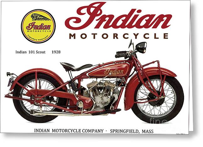 Indian 101 Scout, 1928, Motorcycle Sign, Vintage, Original Art Greeting Card