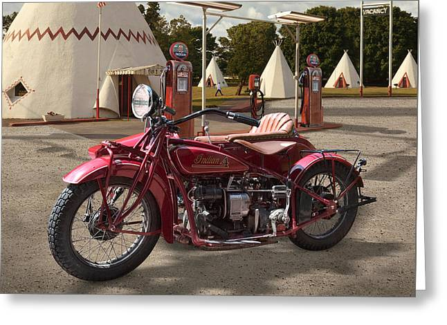 Indian 4 Motorcycle With Sidecar Greeting Card by Mike McGlothlen