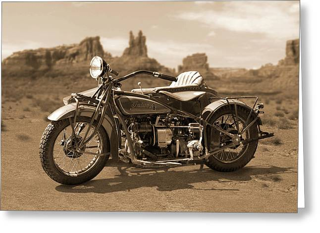 Indian 4 Sidecar Greeting Card by Mike McGlothlen