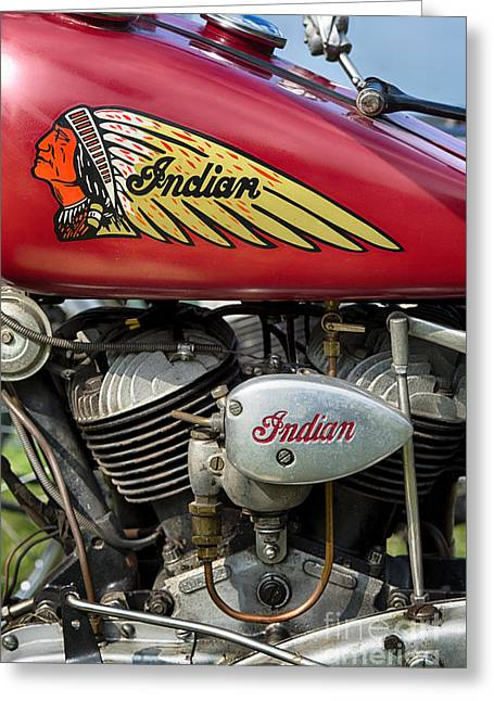 Indian 741b Scout Motorcycle Gear Shift  Greeting Card by Tim Gainey