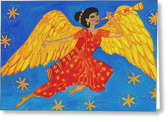 Indian Angel Messenger Greeting Card by Sushila Burgess