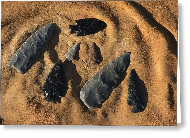 Indian Arrowheads In The Sand Greeting Card by Ira Block