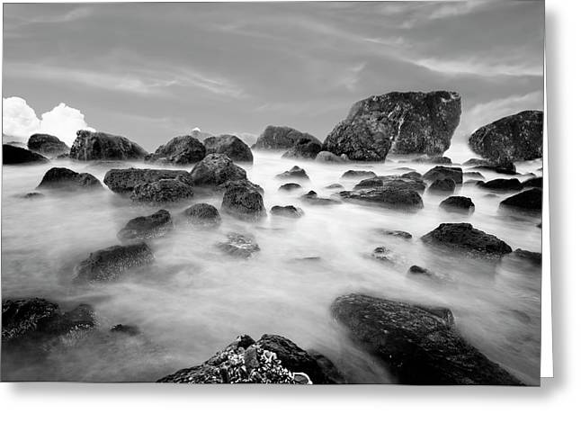 Indian Beach, Ecola State Park, Oregon, In Black And White Greeting Card