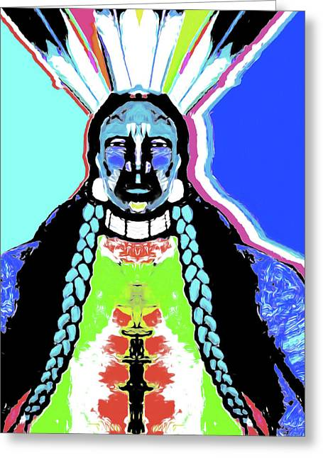 Indian Blue By Nixo Greeting Card