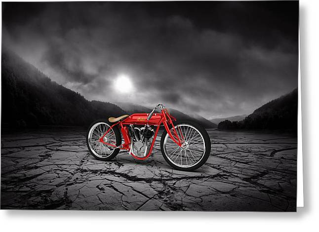 Indian Board Track Racer 1920 Mountains Greeting Card