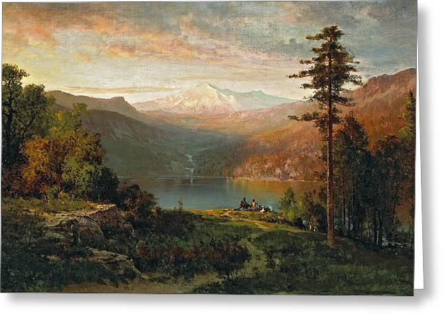 Indian By A Lake In A Majestic California Landscape Greeting Card by Thomas Hill