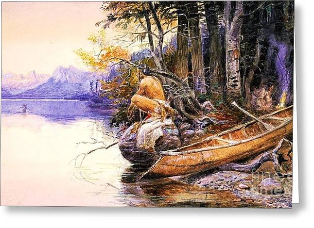 Indian Camp Lake Mcdonald Greeting Card by Pg Reproductions
