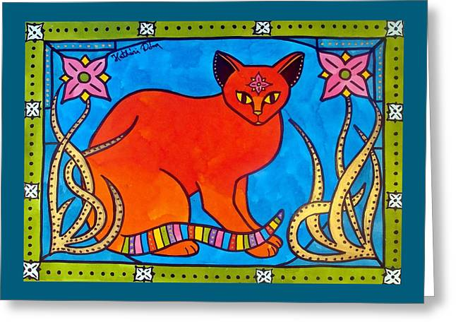 Indian Cat With Lilies Greeting Card