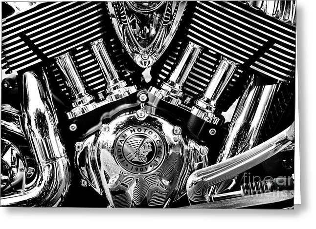 Indian Chief Engine Monochrome Greeting Card