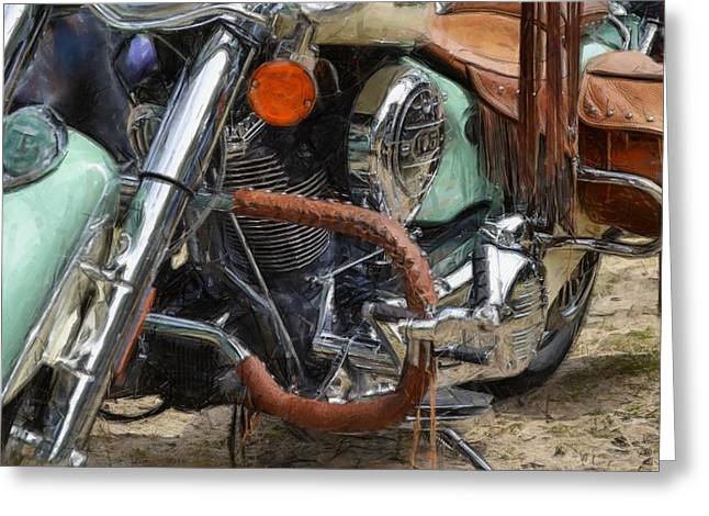 Custom Mirror Greeting Cards - Indian Chief Vintage ll Greeting Card by Michelle Calkins