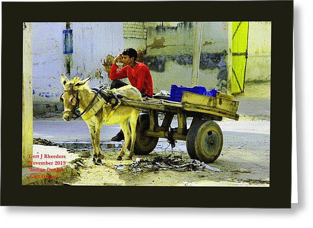 Indian Donkey Cart Owner H A Greeting Card by Gert J Rheeders