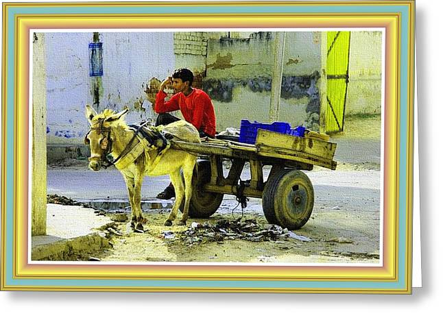 Indian Donkey Cart Owner H B With Decorative Ornate Printed Frame. Greeting Card by Gert J Rheeders
