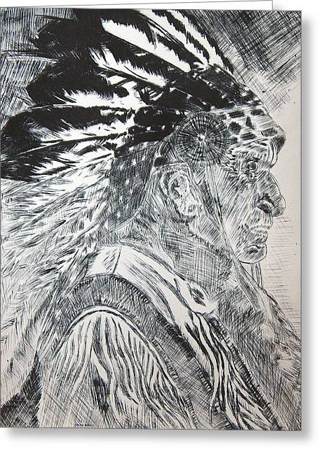 Indian Etching Print Greeting Card by Lisa Stanley