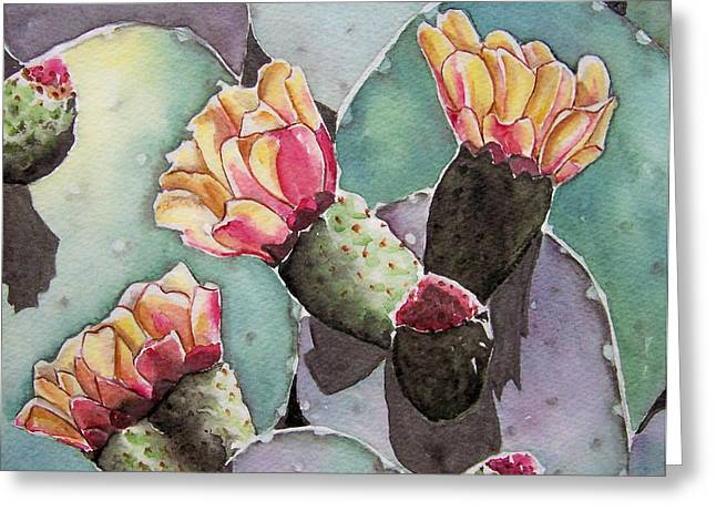Indian Fig Cactus Greeting Card by Regina Ammerman
