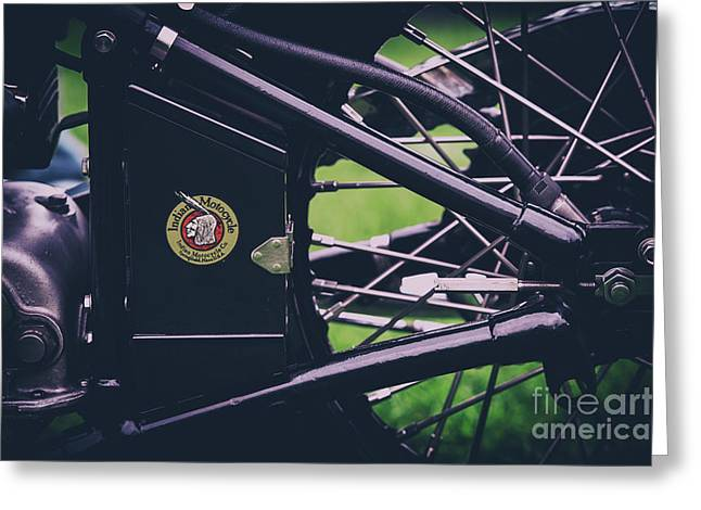 Indian Four Motorcycle Detail Greeting Card by Tim Gainey