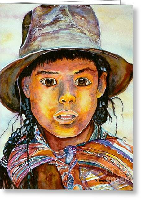 Indian Girl Greeting Card by Norma Boeckler