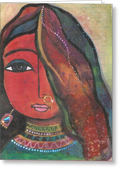 Greeting Card featuring the mixed media Indian Girl With Nose Ring by Prerna Poojara