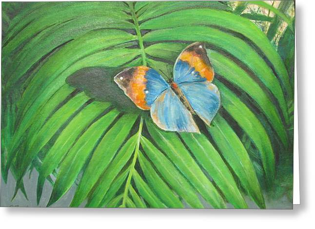 Greeting Card featuring the painting Indian Head Butterfly by Oz Freedgood
