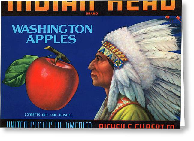 Indian Head Yakima Apples Crate Label Greeting Card by Daniel Hagerman