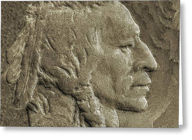 Indian In Stone   Greeting Card by Randy Steele