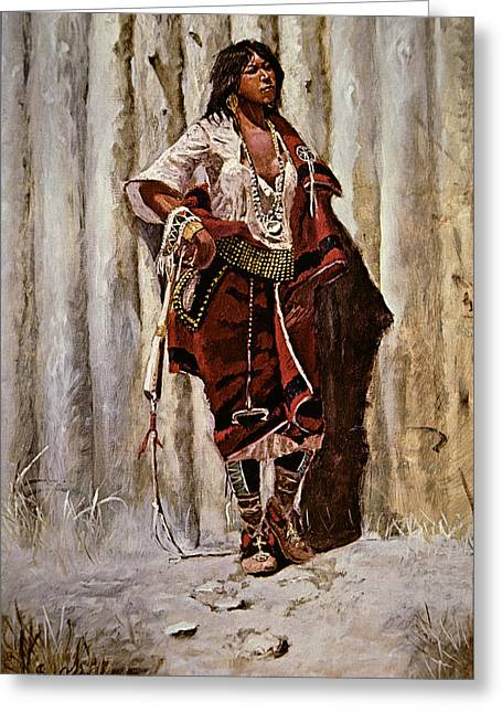 Indian Maid At The Stockade Greeting Card by Charles Marion Russell