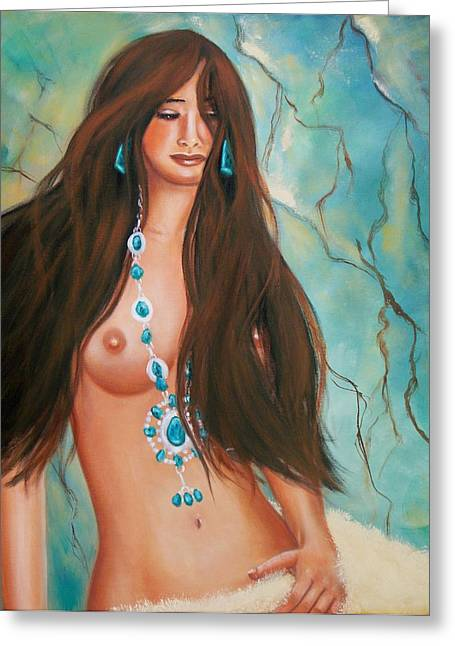 Indian Maiden In Turquoise Greeting Card by Joni McPherson