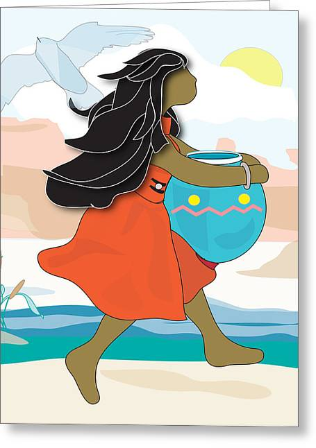 Indian Maiden Greeting Card by Susan Nelson