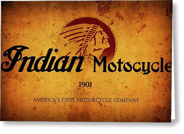 Indian Motocycle 1901 - America's First Motorcycle Company Greeting Card by Daniel Hagerman