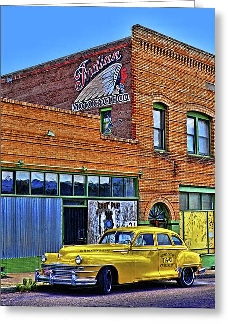 Bisbee Greeting Cards - Indian Motocycle Co. Greeting Card by Charlene Mitchell