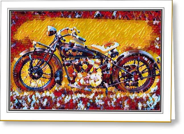Indian Motorcycle Colorful  Greeting Card by Scott Wallace