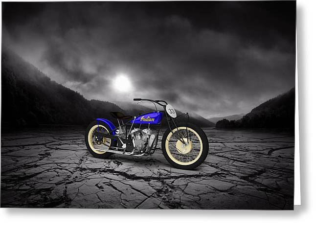 Indian Motorcycle Flat Track Racer 1928 Mountains Greeting Card