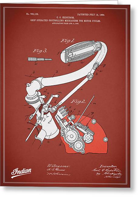Indian Motorcycle Patent 1904 Greeting Card
