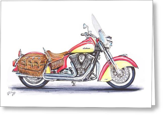Indian Motorcycle Greeting Card by Terence John Cleary
