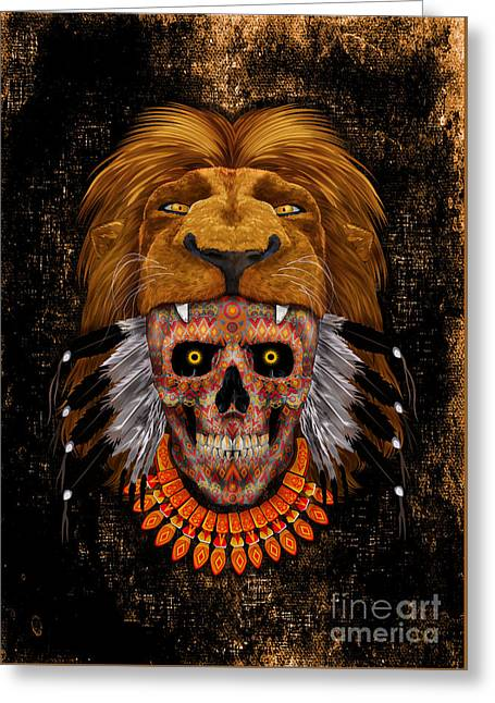 indian native lion the day of the dead sugar Skull Greeting Card