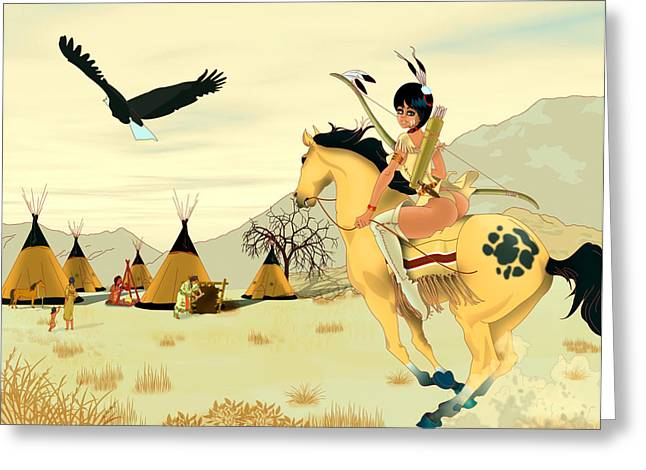 Indian On Horse Greeting Card by Lynn Rider