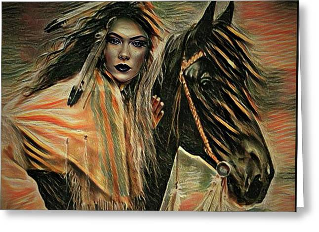 American Indian On Horse Greeting Card